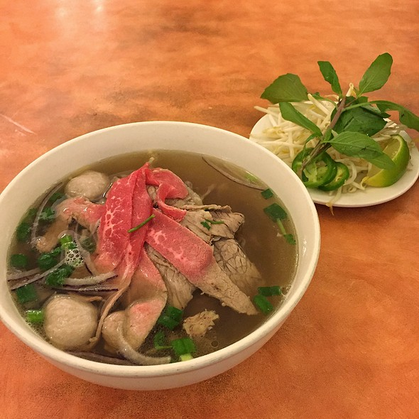 Rare Flank Steak & Meatballs Noodle Soup
