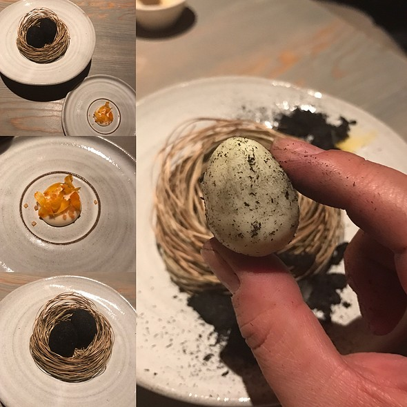 Quail Egg Coated In Ash, Sauce Made From Dried Trout And Pickled Marigold