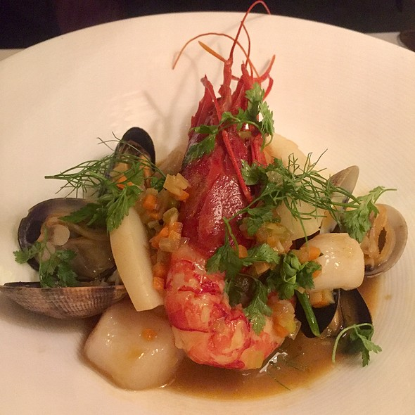 Olive Oil Poached Halibut With Mussels, Clams, And Prawn