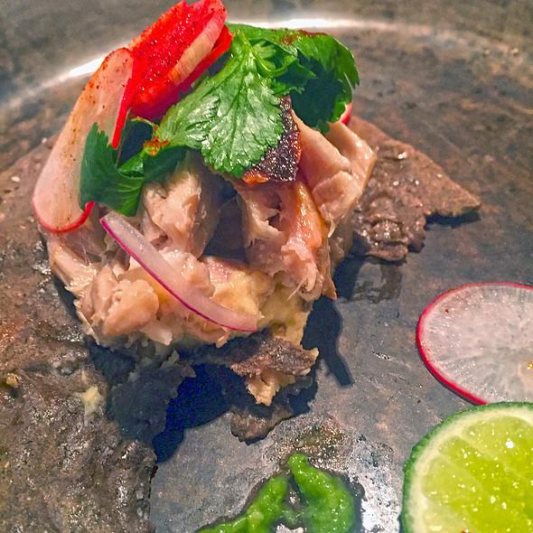 suckling pig taco, smoked tortilla, chickpea puree, coriander, red jalapeno @ Pujol