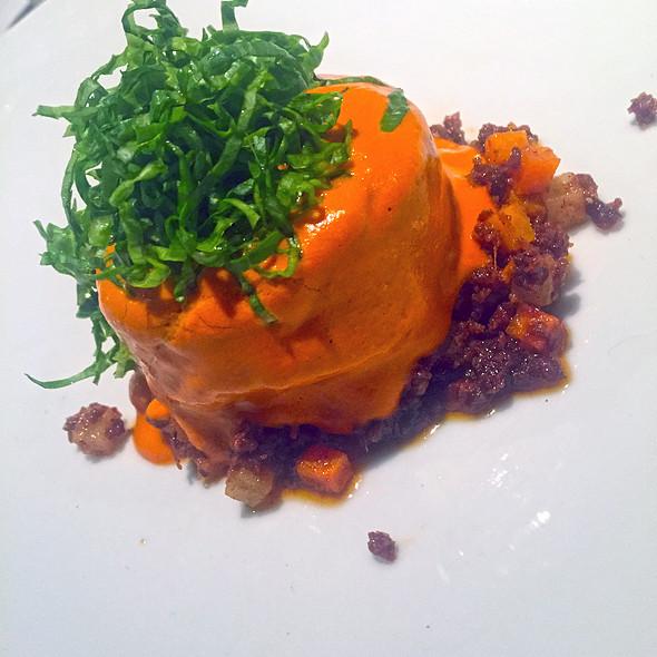 Rabbit, red pepian, chorizo, carrots, lettuce @ Pujol