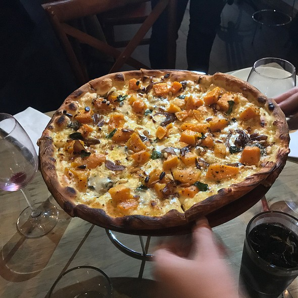 Pumpkin Gorgonzola Pizza (Slow Roasted Pumpkin Bianco Pizza With Gorgonzola, Pine Nuts, Garlic, Caramelised Onion & Sage)