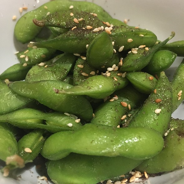 Edamame With Garlic, Smoked Salt, Shallots, Pickled Ginger, And Sesame Seeds