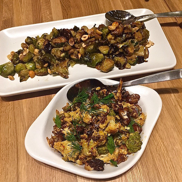 Charred cauliflower and Roasted Brussels sprouts @ True Food Kitchen