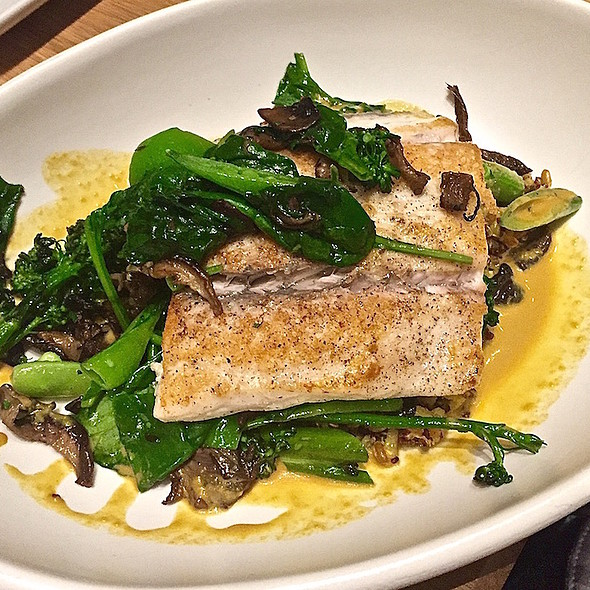 Sustainable sea bass, broccolini, sugar snap pea, roasted mushroom, whole grains, umami sauce @ True Food Kitchen