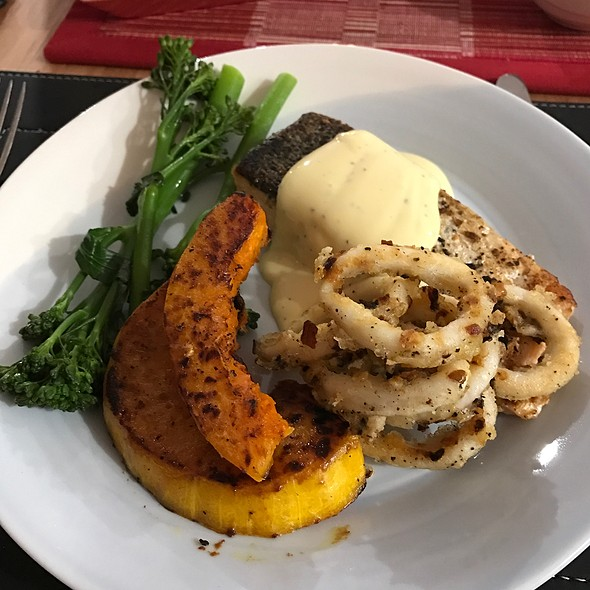 Salmon, Squid, Pumpkin And Brocollini With Hollandaise @ Chookys