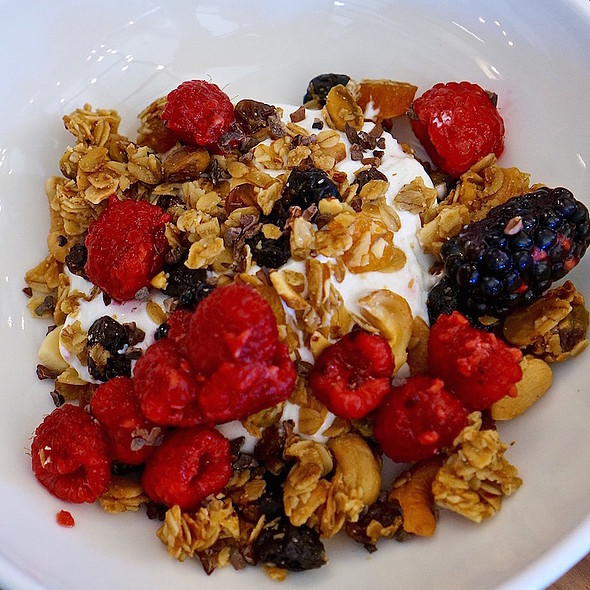 Granola Bowl – cashew and apricot granola, Greek yogurt, fresh berries, Colorado honey, cocoa nibs