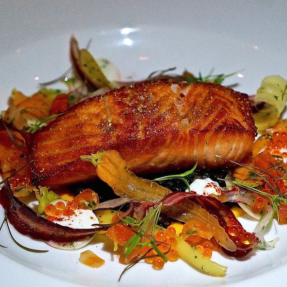 Seared Columbia River steelhead trout, shaved root vegetables, black lentil, steelhead roe, horseradish SkeepSkyr