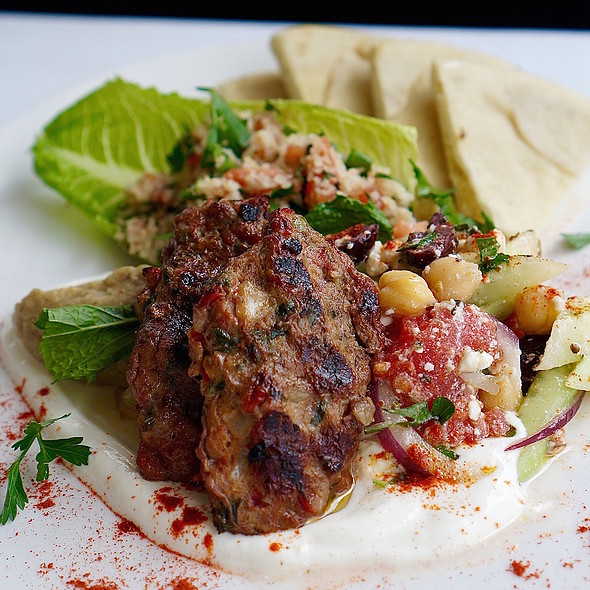 Luleh kebab – wood grilled Armenian lamb, babaganoush, Greek salad, tabbouleh, scented lemon yogurt, pita