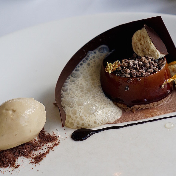 Rich chocolate tartufo, porter beer ice cream, espresso espuma, orange, malted milk delice
