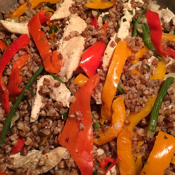 Chicken Fillet with Buckwheat, Onions and Bell Peppers