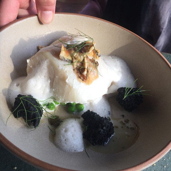 Poached Grouper, Squid Ink Rocks, And Peas