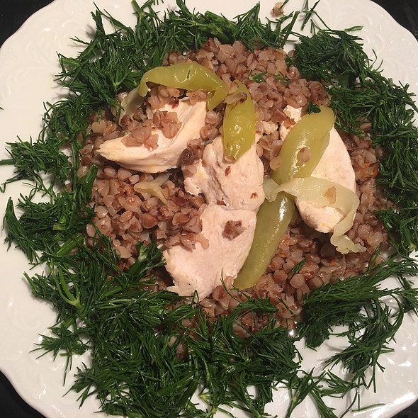 Boiled Chicken with Buckwheat and Fresh Dill