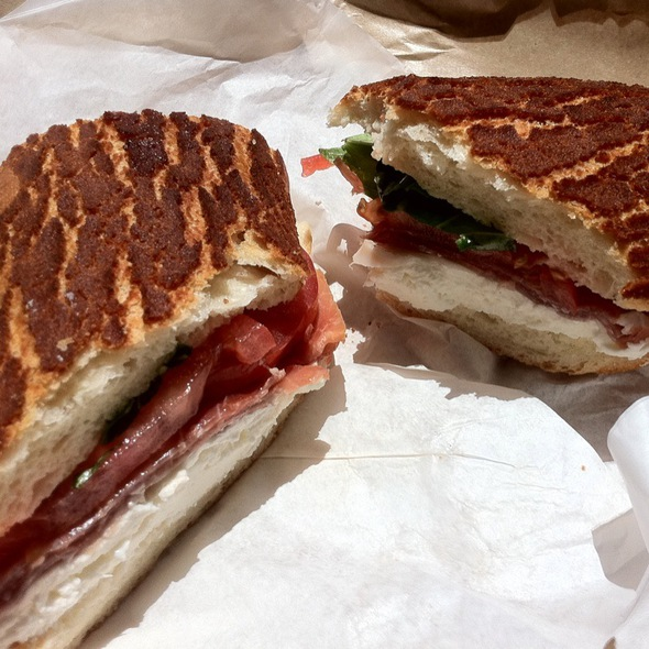 Parma Sandwich W/ Prosciutto, Fresh Mozzarella, Tomato & Basil @ Cheese Plus