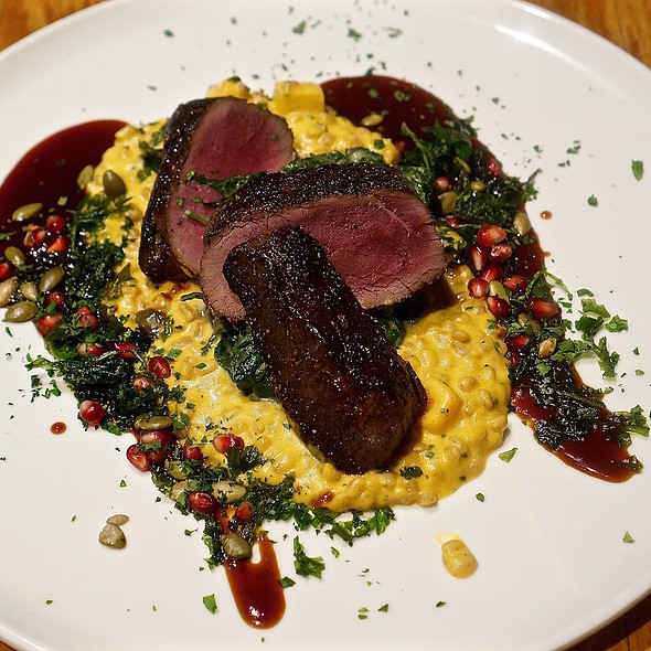 Bourbon marinated elk strip loin, butternut squash farro risotto, braised rainbow chard, pepitas, pomegranate seeds, pomegranate demi glace, kale chips