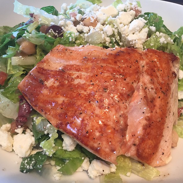 Olive, Chickpea, Cucumber, Tomato, And Feta Salad With Grilled Salmon