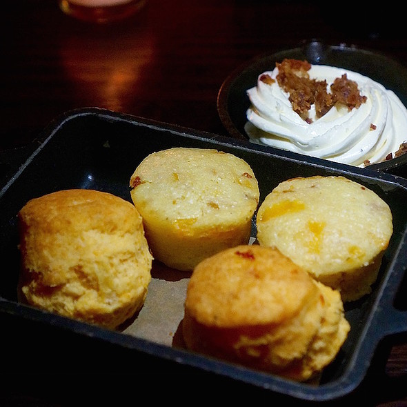 Cheddar biscuits, bacon cornbread, bacon butter