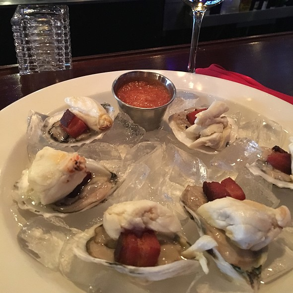 Blue Point Oysters Topped With Nueske's Applewood Smoked Bacon & Colossal Crabmeat
