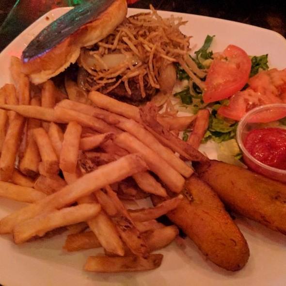 Chorizo Burger With Fries @ 90 Miles Cuban Cafe