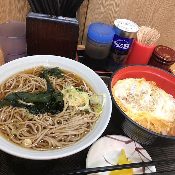 Soy Sauce Soba & Pork Tonkatsu Rice Bowl
