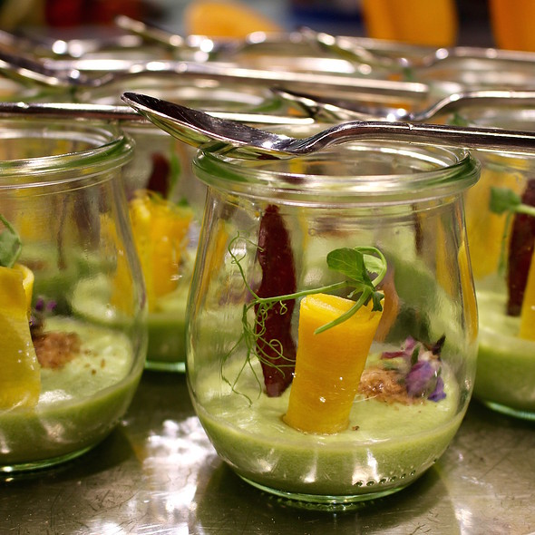 Dutch pea cream, pickled carrots and crispy smoked beef sausage @ Google Nederland