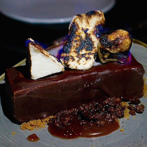 Fire cake – candy coated mousse cake, honey caramel, flaming piri piri marshmallows, candied cocoa nibs