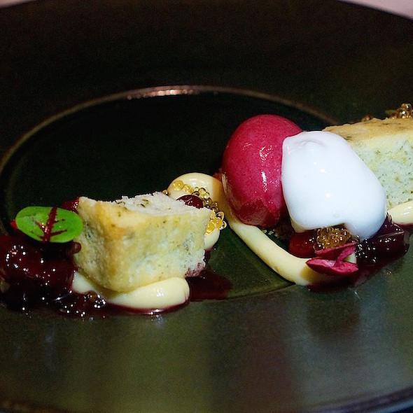 Cranberry, sage cake, pecans, caramelized white chocolate