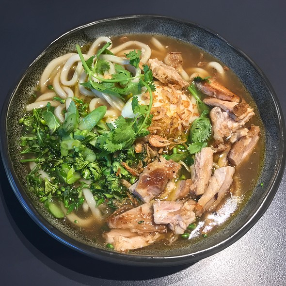 Udon Noodle Broth, Smoked Pork, Slow Egg, Black Garlic, Chilli Oil