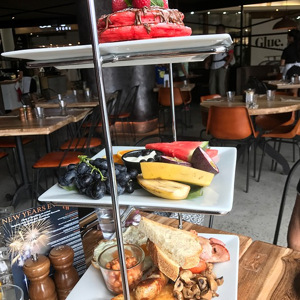Sharing Is Caring - Hbk 3 Level Breakfast (Red Velvet Pancakes, Our Healthy Fruit Plate, Rustic London Breakfast)
