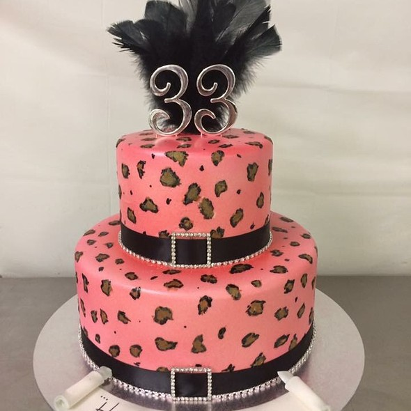 Pink Leopard Chocolate Birthday Cake @ Annettes Heavenly Cakes