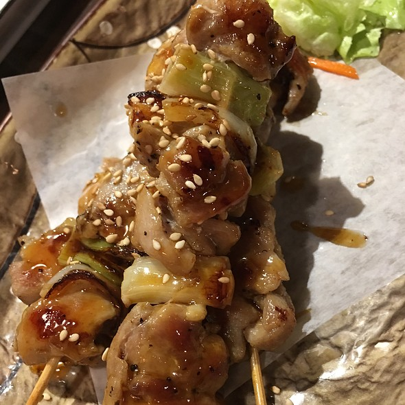 Chicken Yakitori three skewers of grilled chicken and spring onion Dressed in yakitori sauce, light & delicious @ nikkyu japanese restaurant