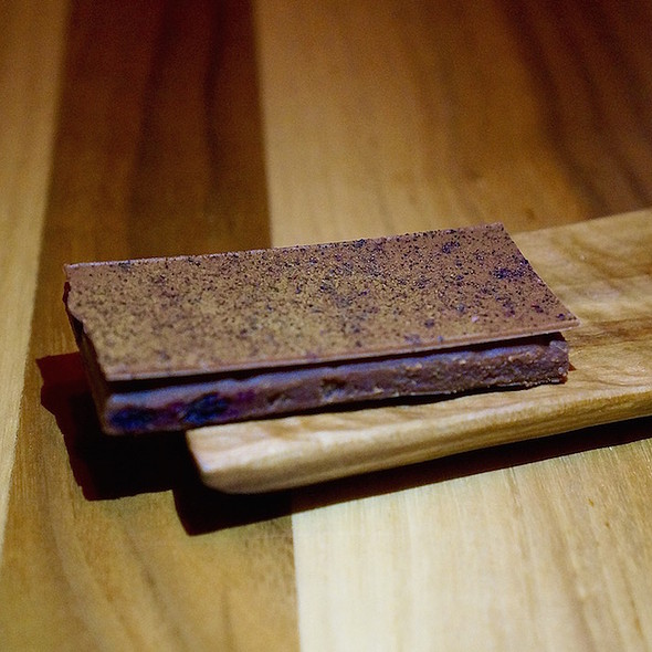 Milk chocolate, huckleberry, preserved shiitake mushroom