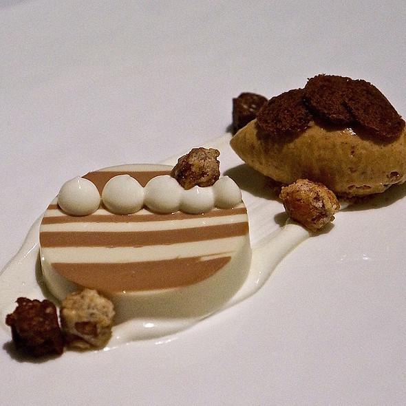 Chocolate cremeux, plum pudding ice cream