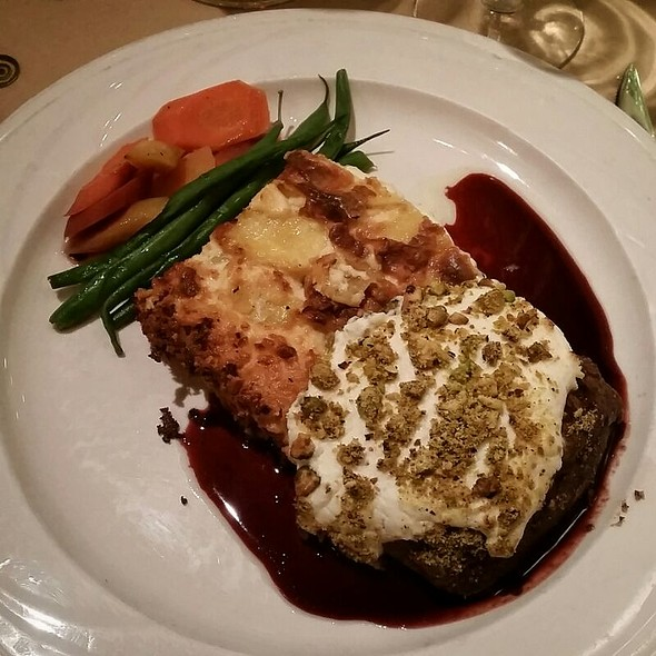 Venison with goat cheese and scalloped potatoes