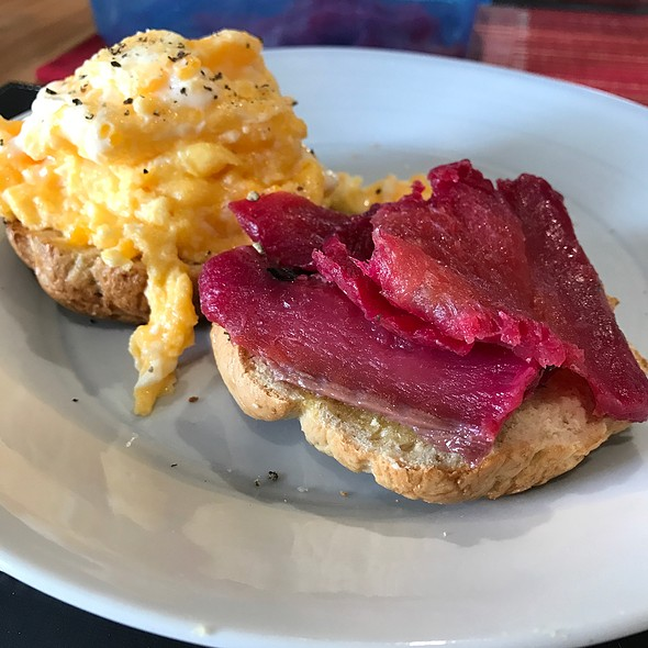 Scrambled Eggs, Beetroot Cured Salmon On Wholemeal Bagel @ Chookys
