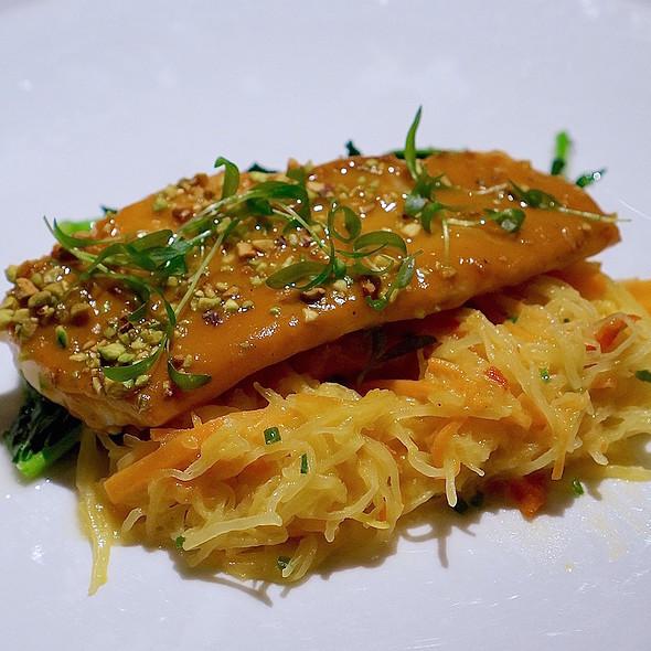 Black bass, sweet potato, broccoli rabe, pistachio