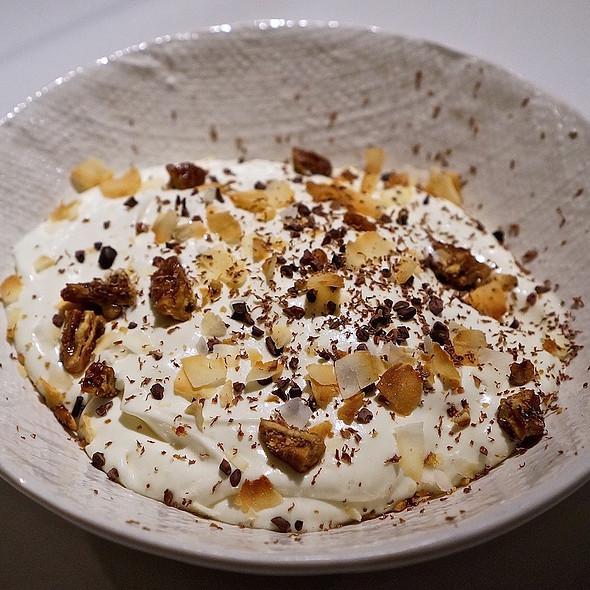 Chocolate pudding cake, sweet cream, buttered pecans, coconut ice cream