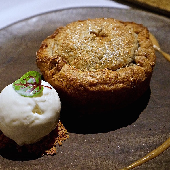 Deep dish apple and buckwheat pie, cheddar ice cream