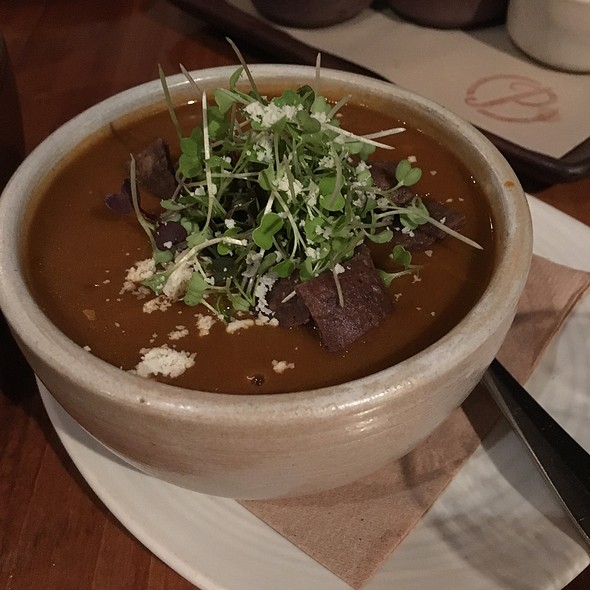 Sopa Azteca: Ancho Chili Tomato Soup With Avocado And Queso