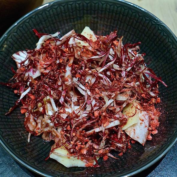 Bitter salad, preserved blackberries, almonds, havgus cheese