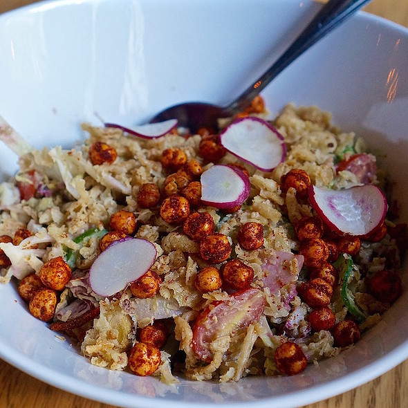 Reyna salad –beet ,cucumber, avocado, fennel, radish, tomato, quinoa, purple kale, fried chickpeas, crispy shallot, serrano tahini dressing