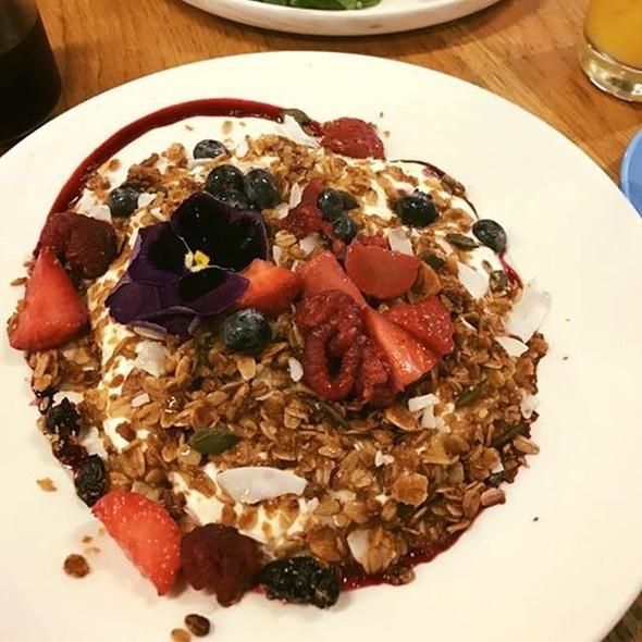 Maple Granola, Yoghurt, Fruit, Chia And Edible Flower