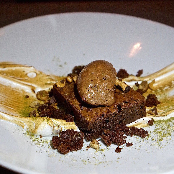 Warm chocolate brownie, candied foraged black walnuts chocolate mousse, toasted meringue