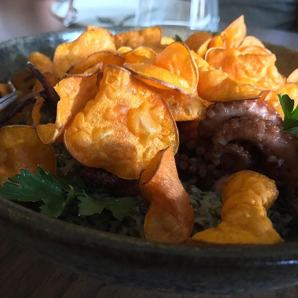 Charred Octopus (Black Lentils, Herbs, Yoghurt, Sweet Potato Chips)