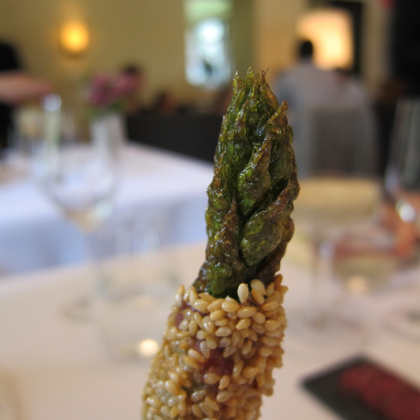 Grilled asparagus wrapped in pancetta @ Blue Hill At Stone Barns