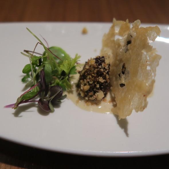 Kashmiri Morels, Walnut Powder, And Parmesan Papad