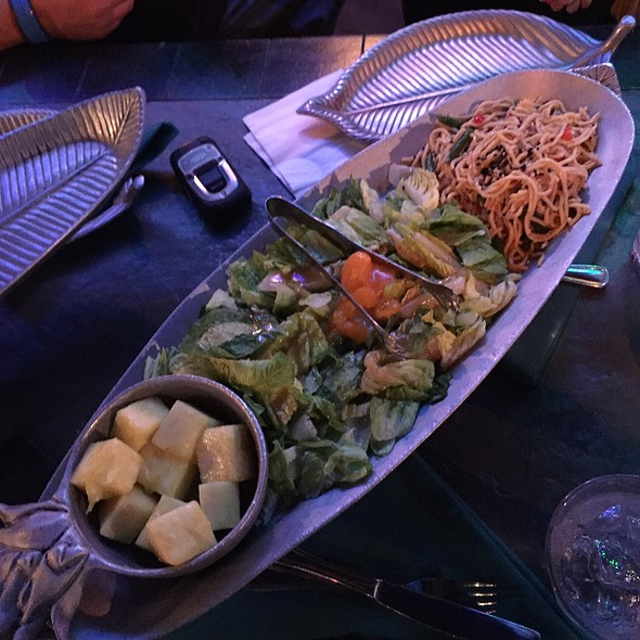 Fresh Pineapple, Honey Lime Slaw, Salad With Mango Poppy Seed Dressing And Soba Noodle Salad @ Luau Cove