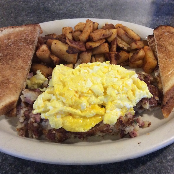 Scrambled Eggs, Homemade Corned Beef Hash, Homefries, White Toast With Butter