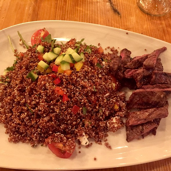 Quinoa Salad With Grilled Beef, Feta Cheese, Tomatoes, And Cucumber