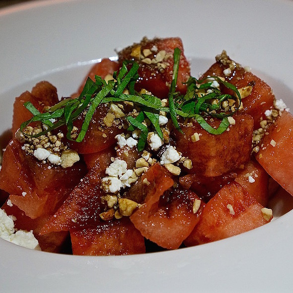 Watermelon and garden tomato, aged balsamic, olive oil, toasted cashews, basil, goat cheese